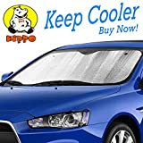 Hippo Front Car Sunshade Windshield-Jumbo/Standard Sun Shade Keeps Vehicle Cool-UV Ray Protector Sunshade-Easy to Use Sun Shade-Silver(54.7