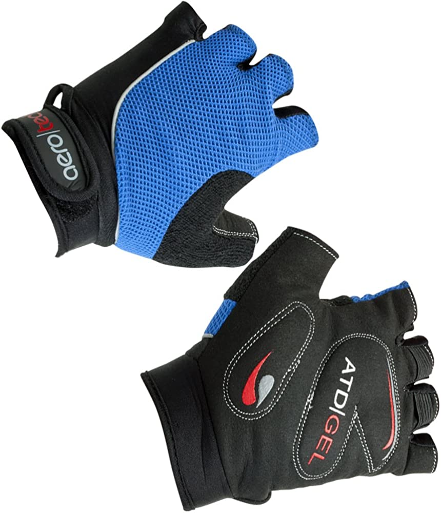 ATD Childrens Gel Padded Cycling Glove Fingerless Bike Gloves Royal LARGE