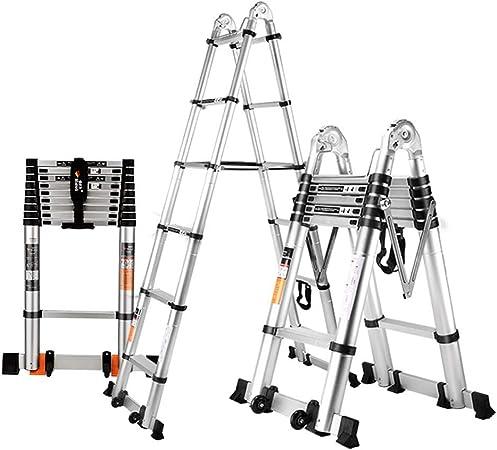 XEWNEG Escaleras Multiusos, escaleras de ingeniería Escalera telescópica Aleación de Aluminio para el hogar portátil Escalera Plegable Gruesa, Capacidad de Carga 300 Libras: Amazon.es: Hogar