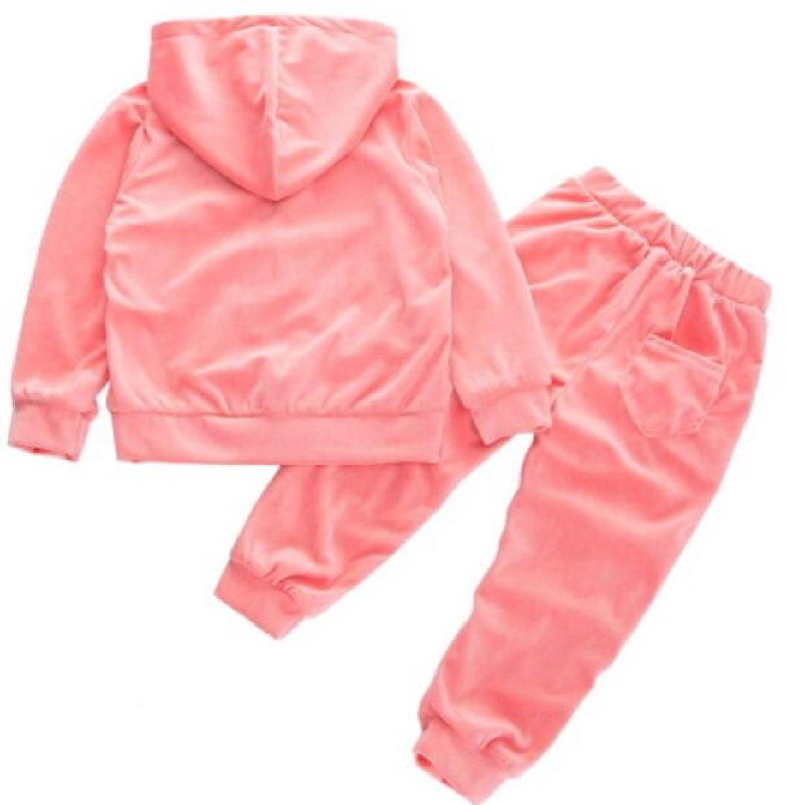 ouxiuli Little Girl Zipper Velvet Coat + Pant Tracksuit Set