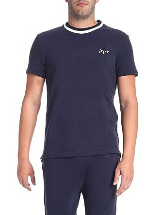 d8292b52 Amazon.com: Ermenegildo Zegna Men's N6M200480412 Blue Cotton T-Shirt ...