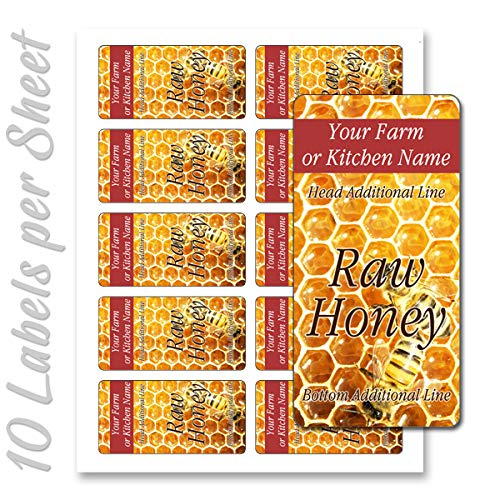 (Honey Raw Organic Pure Rectangle Personalized Farm Home Made Product Kitchen Name Mason Jar Labels (Label-01))