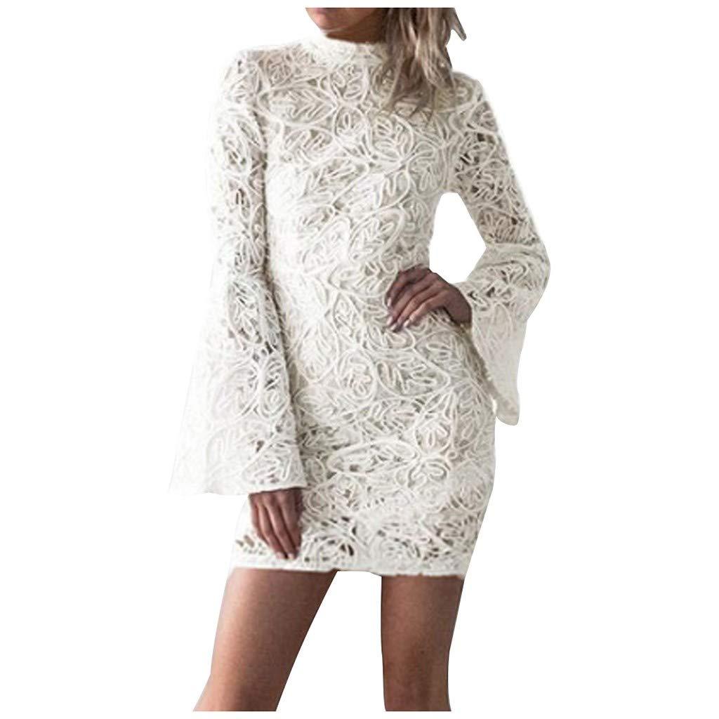 Ultramall Fashion Women Slim fit Summer Long Sleeve Bat Sleeve O- Neck Formal Party Dress(White,XL)