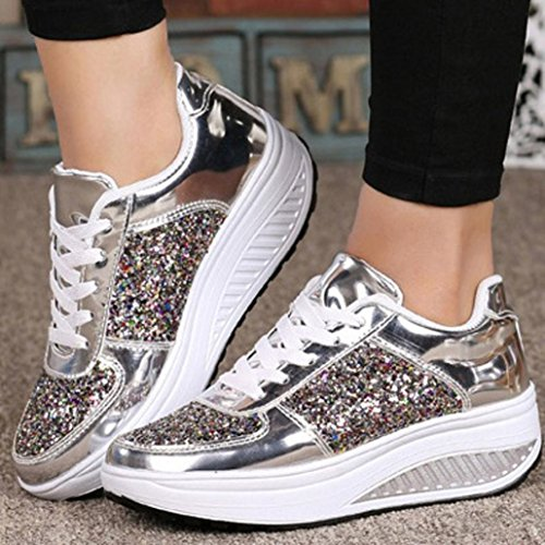 Sport Shoes Walking Girls Shake Shoes Ladies' Wedges UPXIANG Cycling Silver Women's Shoes Sneakers Sequins Fashion vq4zcgPwx