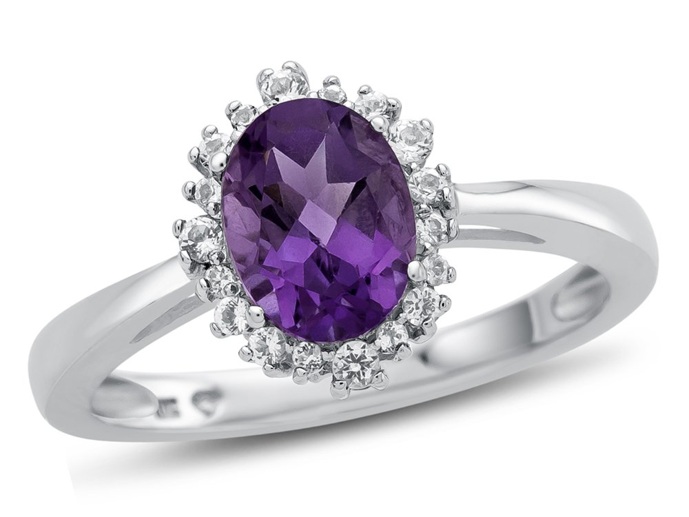 Finejewelers 10k White Gold 8x6mm Oval Amethyst with White Topaz accent stones Halo Ring Size 8