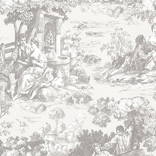 Beacon House 2668-21512 Isabella Toile Wallpaper, Grey (Wallpaper Toile Vintage)