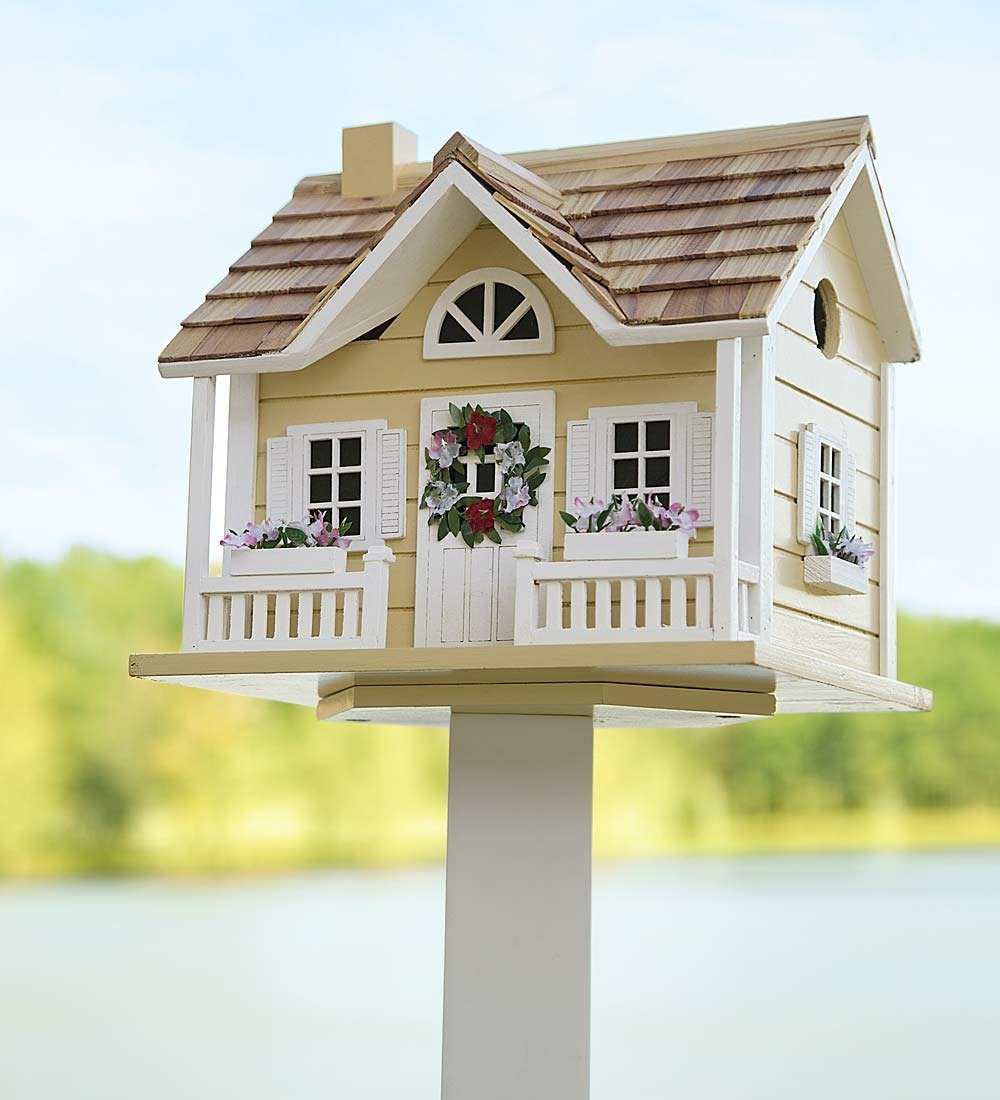 Wreath Cottage Birdhouse, in Yellow by Plow & Hearth