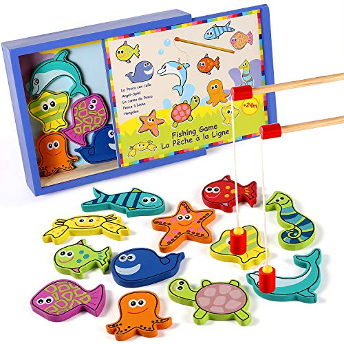 (Lewo Wooden Fishing Game Magnetic Fish Pole Set Educational Toys for Toddler Kids Ages 2 3 4)