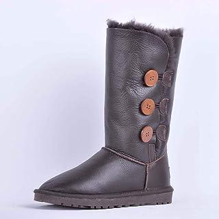 BNXXINGMU Donne Snow Boots Genuine Stivali Donna Casual Scarpe Caldo Donna Stivali Inverno Marrone 5