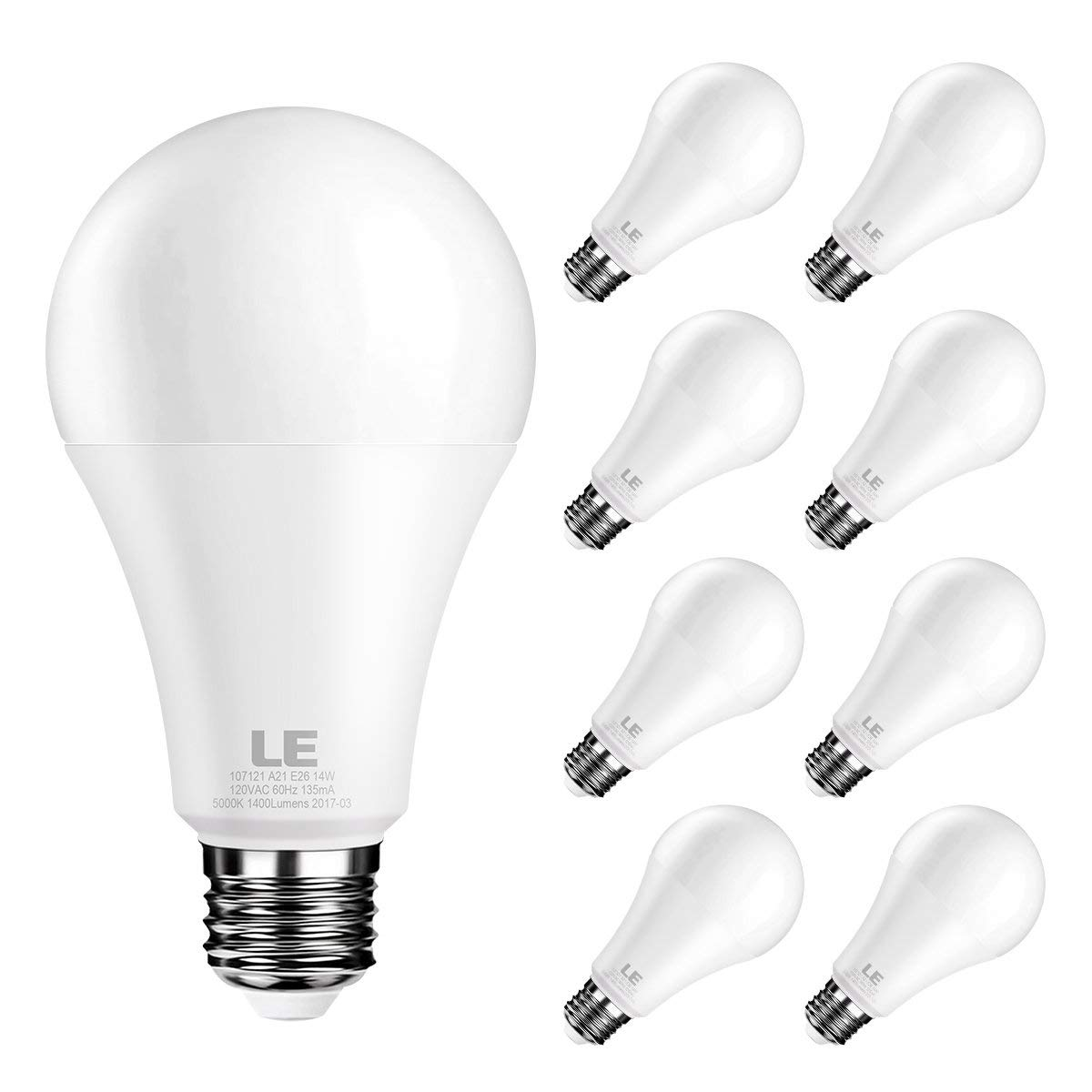 Super Bright 1200 Lumens 5000K Daylight White 13W LED Bulbs LE 100 Watt Equivalent A21 LED Light Bulbs 200 degree Beam Angle Non-Dimmable E26 Medium Base Bulbs Pack of 8