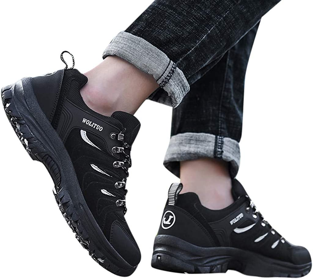 Jentouzz Mens Sneakers Breathable Comfortable Hiking Shoes Non-Slip Outdoor Low Top Trekking Shoes