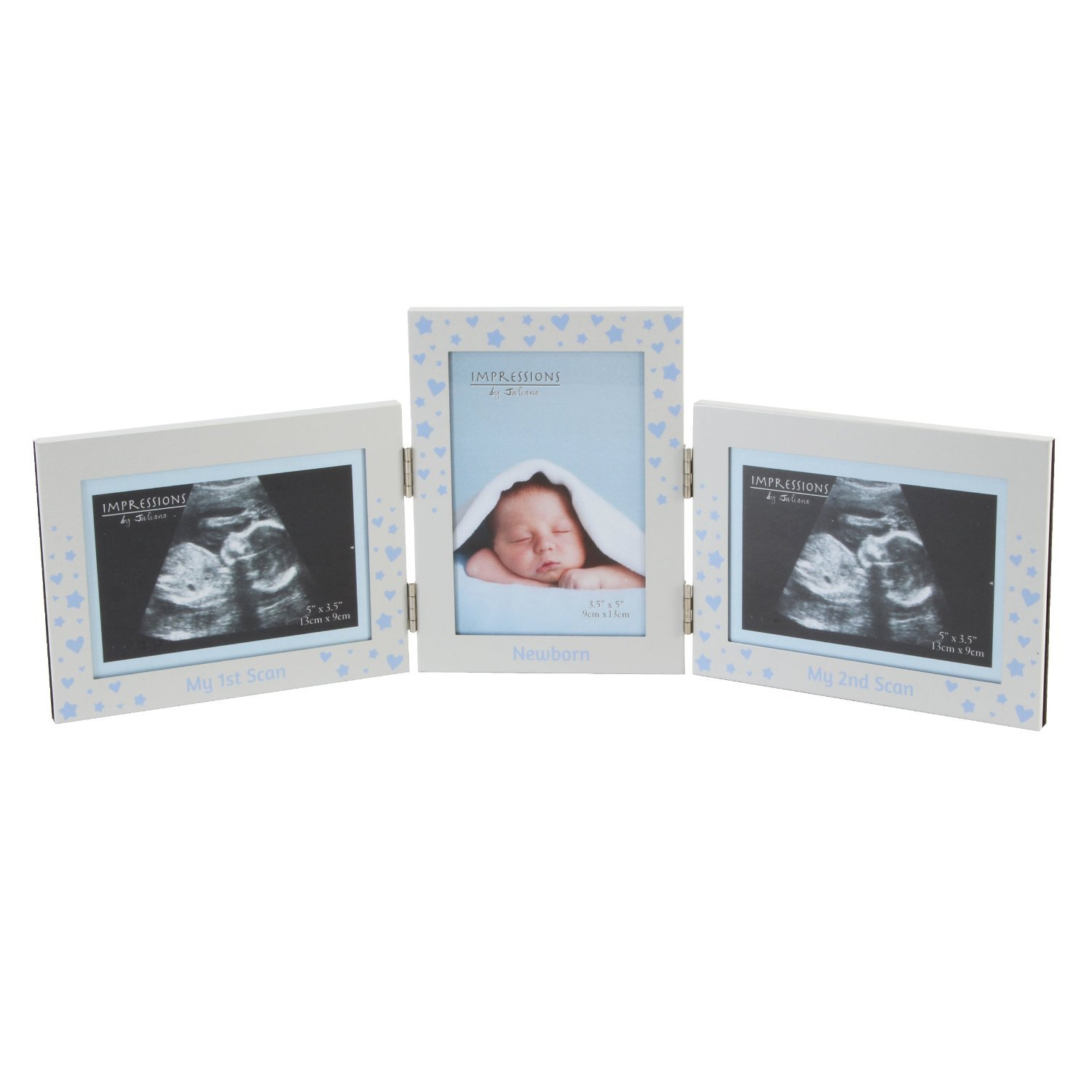 baby scan hinged triple photo frame boy impressions by juliana cg523b
