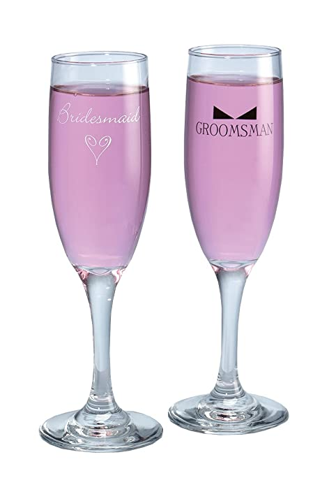 Hortense B Hewitt Wedding Accessories Bridesmaid And Groomsman With Tie Champagne Toasting Flutes Set