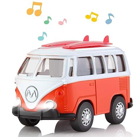 geyiie Die Cast metal Pull Satisfacción Play Toy Bus con luces y sonidos con tabla de
