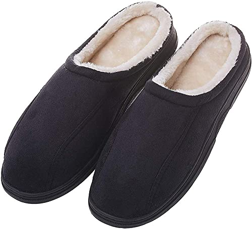 f6c9299eb7e2 MIXIN Men s Microsuede Soft Vamp and Anti Slip Rubber Sole Indoor Warm  Winter Slippers Black US