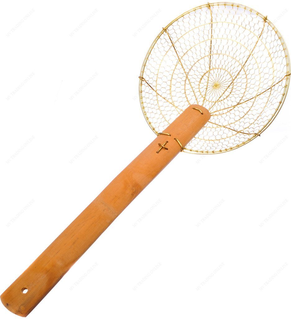 M.V. Trading CS12 Kitchen Copper Skimmer Strainer with Bamboo Handle, 12-Inches