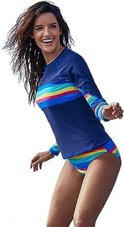 BIFINI Women's Surfing Athletic Swimwear Rainbow Striped Rashguard Tankini Sets