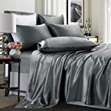 TREELY 6 Piece Satin Sheets Queen Size Silky Smooth Grey Satin Sheet Set with Deep Pocket, Satin Fitted Sheet, Flat Sheet, 4