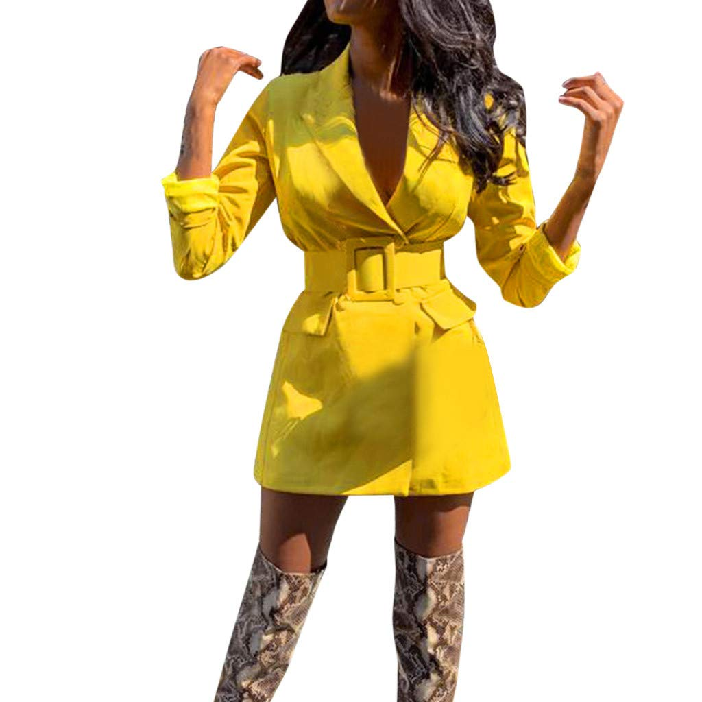 Funnygals - Ladies Womens Fashion Blazers Solid Color Long Sleeve Coat Duster Jacket Long Blazer with Waistband S-XXL Yellow by Funnygals - Clothing