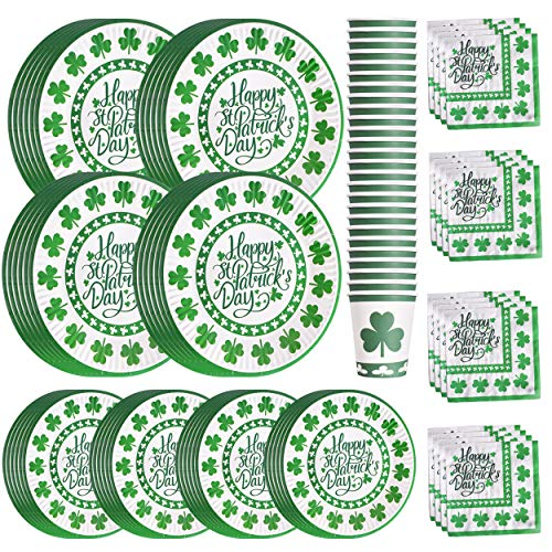 St Patrick's Day Paper Plates Napkins Cups for 24 Guests Green Shamrocks Dinner Irish Party Supplies Disposable Dinnerware Set Decoration, Serves ()