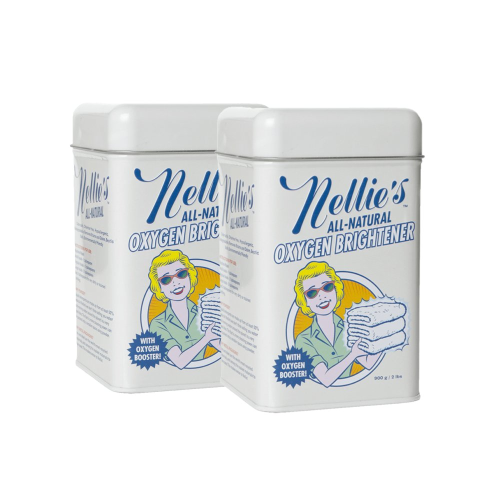 Nellie's All-Natural Oxygen Brightener Powder Tin, 2 Pounds (Pack of 2)- Removes Tough Stains, Dirt and Grime