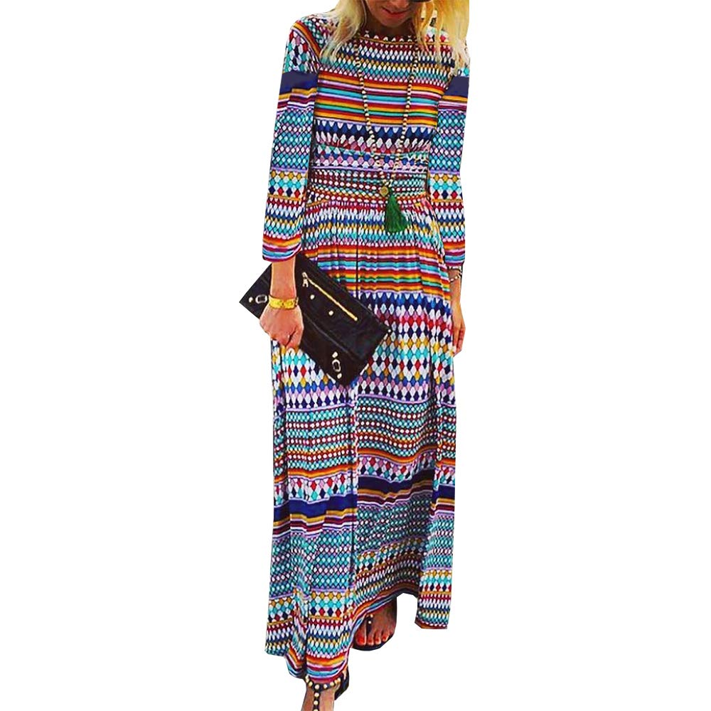 Womens Casual Elegant Maxi Dress,Long Sleeve Rainbow Colorful Stripe O Neck Loose High Waist Party Flowy Dresses by KINGLEN Womens Dress