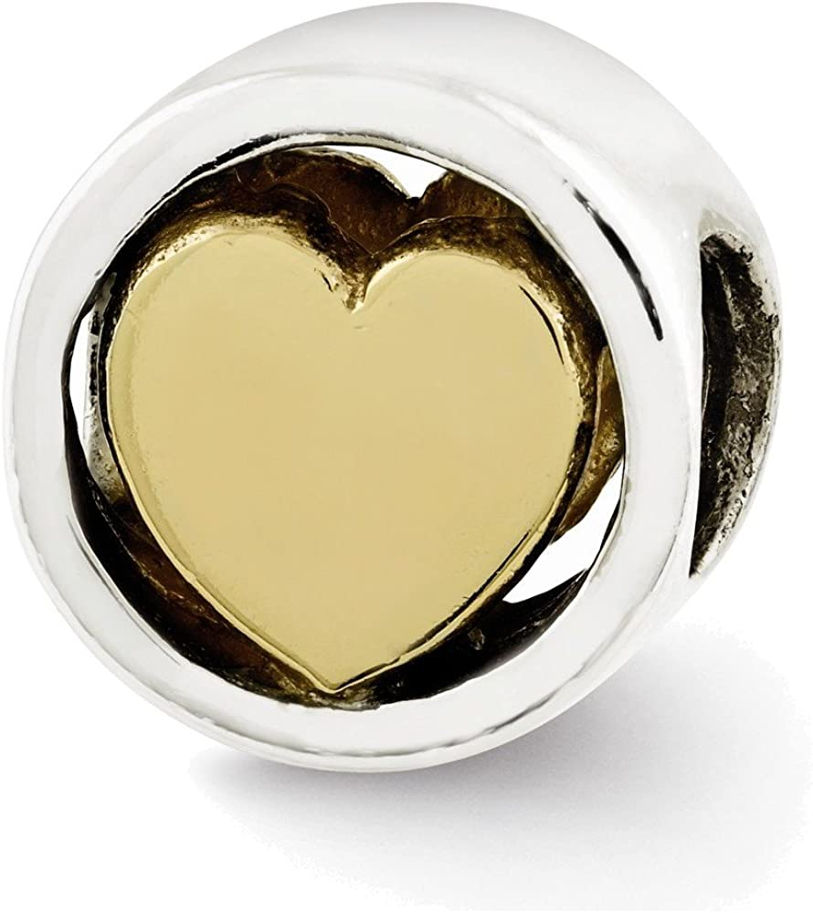 Jewelry Adviser Beads Sterling Silver Reflections Gold-plated Heart Bead