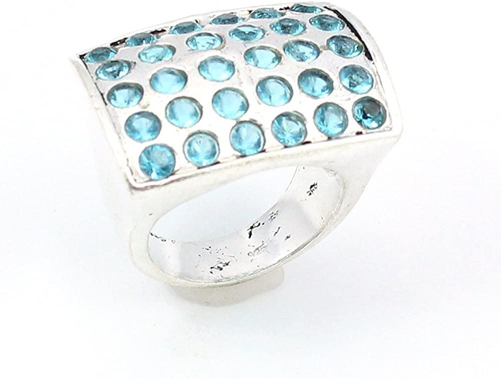 BLUE TOPAZ FASHION JEWELRY .925 SILVER PLATED RING S12436