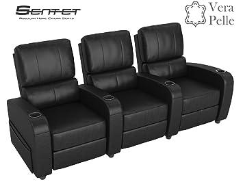 sentet fauteuil triple home cinma en vritable cuir black avec fonction relax composable modulaire 3 places - Fauteuil Home Cinema