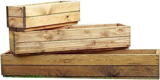 Juego de 3 cajas de madera rectangulares para ventanas de jardín, 3 tamaños, totalmente montadas, hechas a mano en Reino Unido: Amazon.es: Jardín