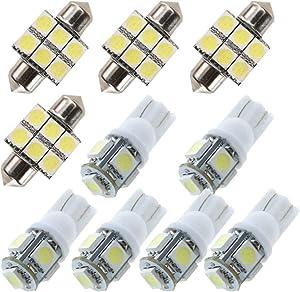 LED Bulbs For Mazda 2 3 5 6 Atenza CX7 CX-7 Reading lights,Xenon White Super Bright Error Free Canbus Car Interior Dome Map Door Courtesy License Plate Lights 10PCS
