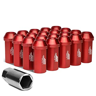 J2 Engineering 20Pcs M12 x 1.25 7075-T6 Aluminum 50mm Close-End Lug Nut w/Socket Adapter (Red): Automotive