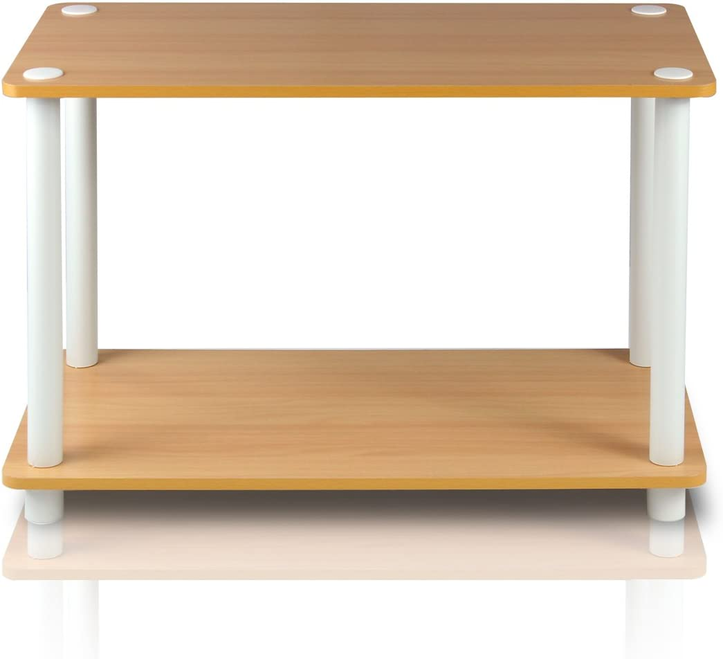 Beech//White Furinno 11250BE//WH Turn-N-Tube 2-Tier No Tools Tube Shelf//End Table