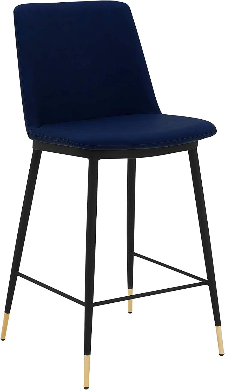 Armen Living Messina 26 Modern Faux Leather And Metal Counter Height Bar Stool Blue Furniture Decor