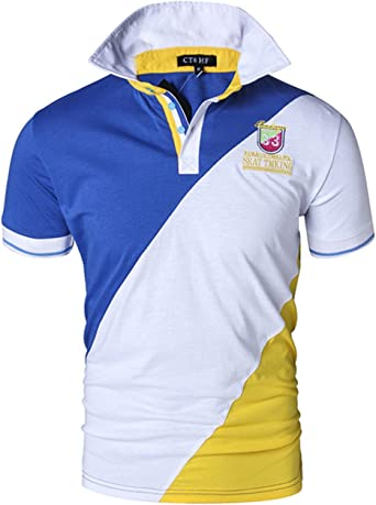 in corso lettore Drago  CT&HF Men's Summer Short Polo Shirt with Three Colors Combined (XX-Large, Royal  Blue and White and Yellow) at Amazon Men's Clothing store