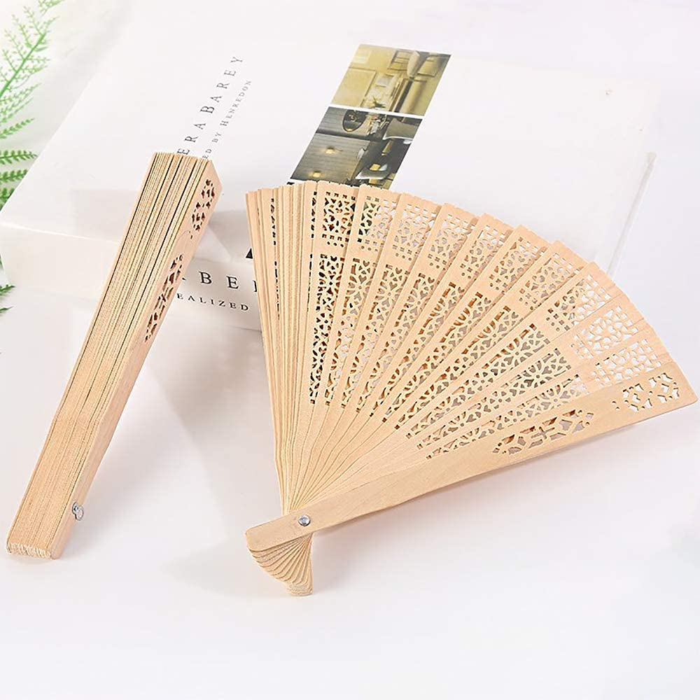 iZoeL Wooden Folding Fans Handheld Folding Fans 12pcs Beige Bamboo Fan Womens Hand Held Holding Fans for Wedding Birthday Party Decoration Walls Idea Gifts Dancing Prop Party Favor