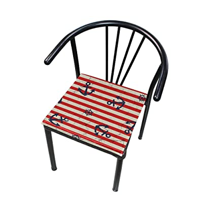 "Bardic HNTGHX Outdoor/Indoor Chair Cushion Ocean Anchor Stripe Square Memory Foam Seat Pads Cushion for Patio Dining, 16"" x 16"": Home & Kitchen"