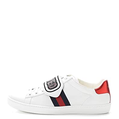 c8cf928e7 Amazon.com | Gucci Womens 505329 Leather Low Top Slip On Fashion Sneakers,  Bianco, Size 8.5 | Shoes