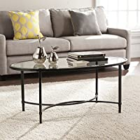 Quinton Metal/Glass Oval Cocktail Table - Black - 45 W x 25 D x 19 H