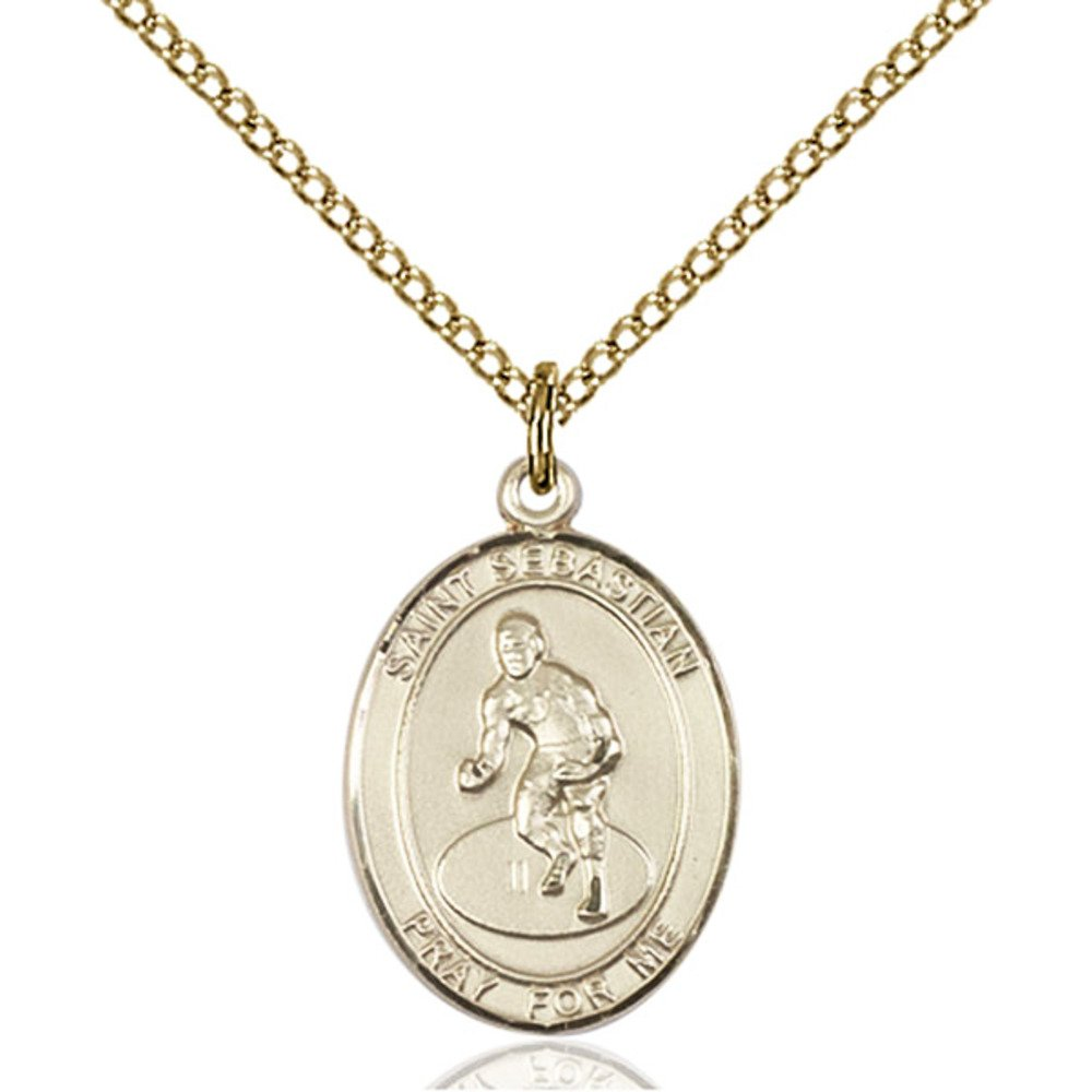 Custom Engraved Gold Filled St. Sebastian / Wrestling Pendant 3/4 x 1/2 inches with Gold-Filled Lite Curb Chain