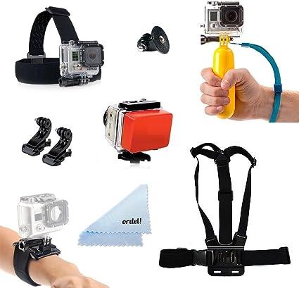 Ordel® Pack de Accesorios AQUA para GoPro Soporte para cabeza, soporte para pecho y más para GoPro HD & Hero 1 2 3 4: Amazon.es: Electrónica
