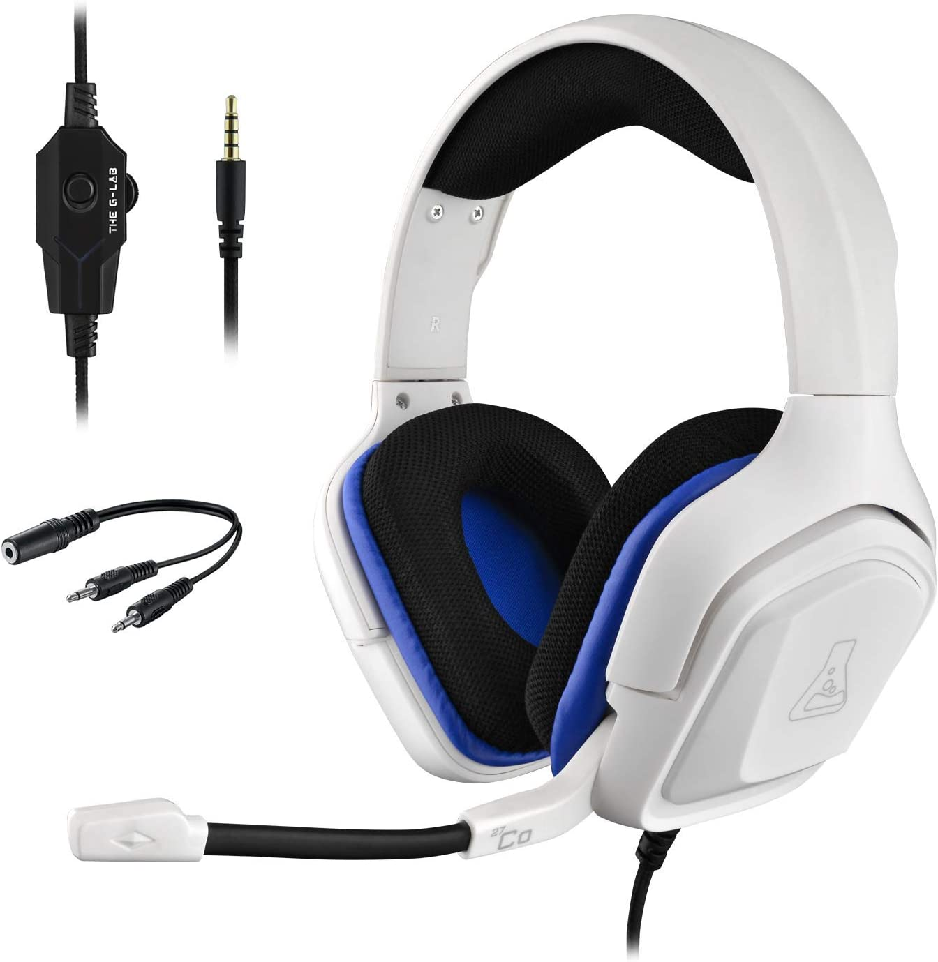 THE G-LAB Korp COBALT Auriculares Gaming - Auriculares estéreo, Ultra Ligero, Auriculares con Micrófono, Jack de 3.5 mm para PC, PS4, Xbox One, Mac, Tablet PC, Switch, Smartphone (Blanco)