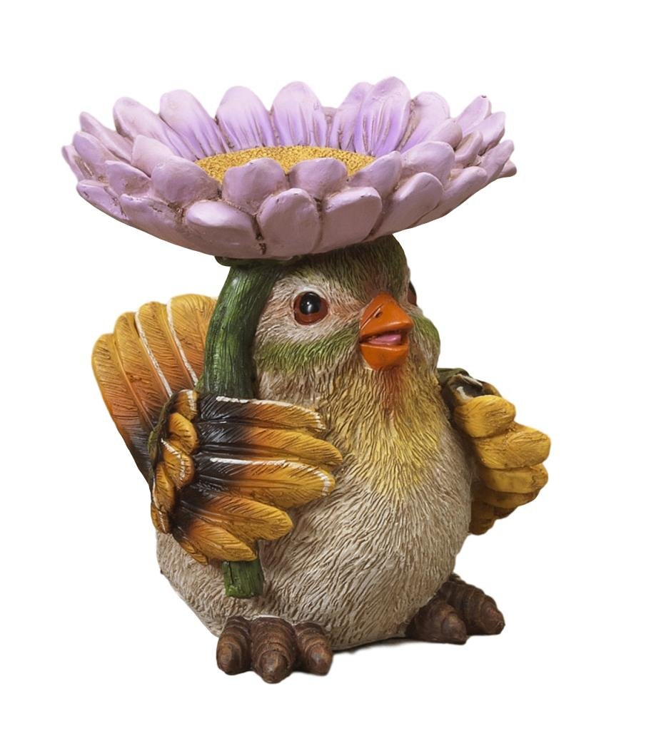 Darling 7.5'' Resin Bird with Flower Bird Feeder Garden Patio Porch Bird Figurine (Green Bird w Purple Flower)