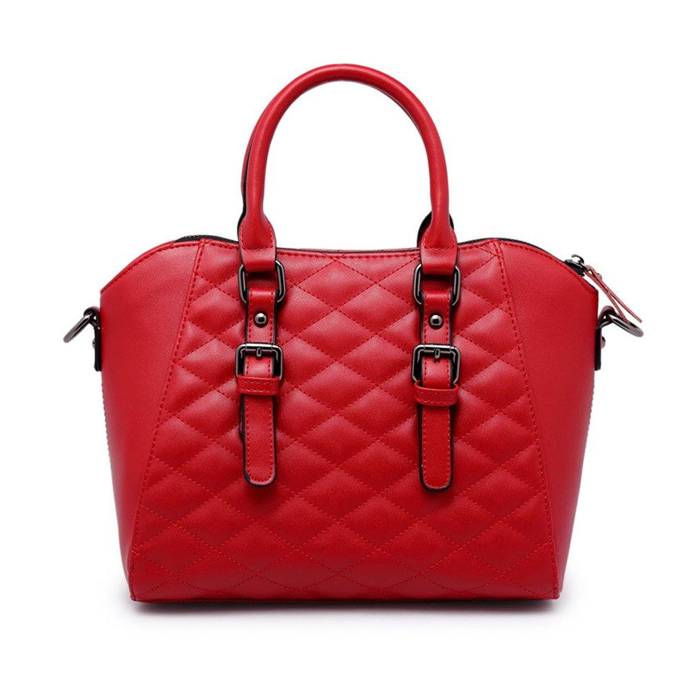Mn&Sue Vintage Diamond Quilted Pattern Reversible Top Handle Satchel Shell Boston Handbag Lady Purse (Red)