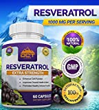 DCT Labs Resveratrol - Extra Strength 1000mg Per Serving - 30 Day Supply - 60 Capsules - Trans-Resveratrol for Life Extension Maximum Anti Aging Immune amp Heart Health Discount