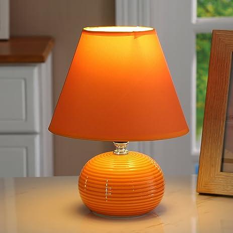 Orange Ceramic Base Small Table Lamp Bedroom Bedside Desk Lamp