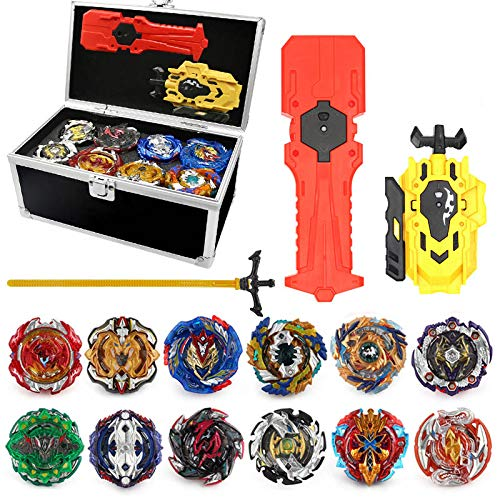 12pcs New Spinning Tops with 2 Turbo Blast Launchers Aluminum Alloy Case Gyro Rotating Pocket Box Portable Case 3T6B Spinning Tops Gyro Toy Set