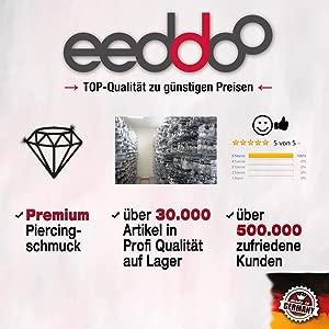 eeddoo Stahl - Plug - Stein Türkis - Double Flare - 10mm (Piercing ...