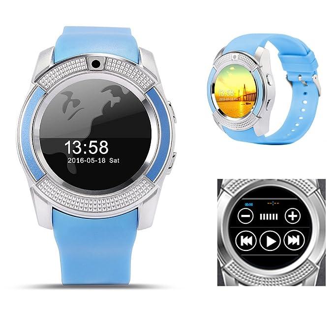 SYN Reloj Inteligente Bluetooth V8, Reloj Inteligente V8 Deportivo Bluetooth con podómetro de Pantalla táctil para teléfono Inteligente Android