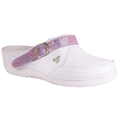 STEPSO White Leather Clogs Women's Lightweight Professional Comfort Nursing: Clothing